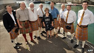 Locals show off their new tartan