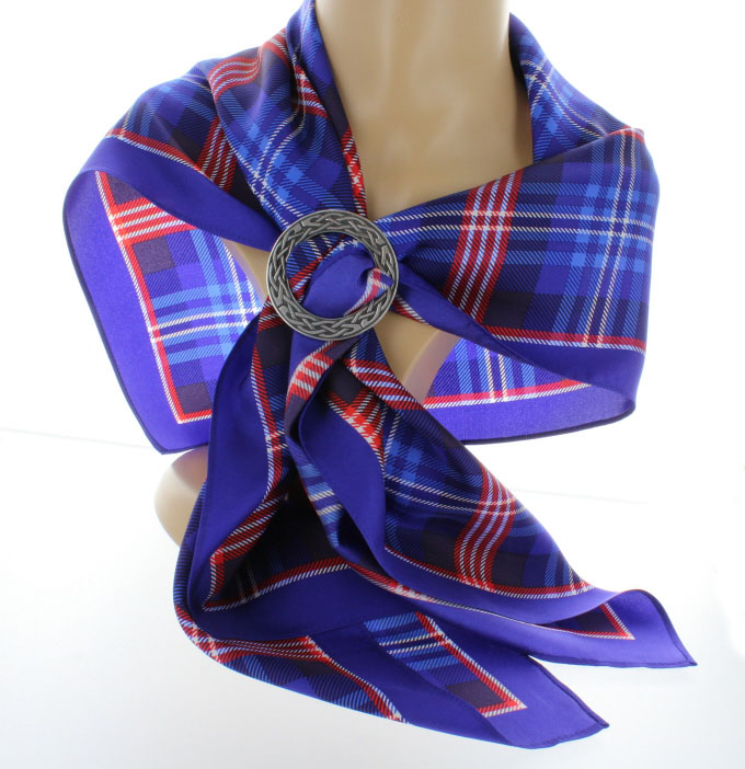 Headsquare, Scarf, Pure Silk, With Scarf Ring, DAR