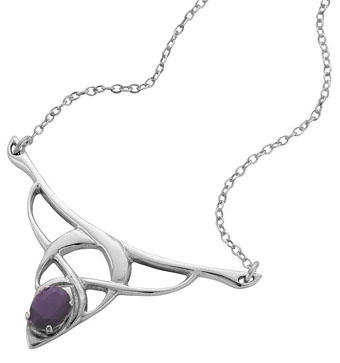 Pendant, Laced Silver with Amethyst Gemstone