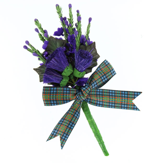 Corsage, Tartan Buttonhole with MacLellan Ribbon