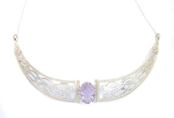 Necklet, Sterling Silver with Amethyst Gemstone