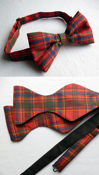 Bow Tie & Self-Tie Set, Dupion in ANY Tartan