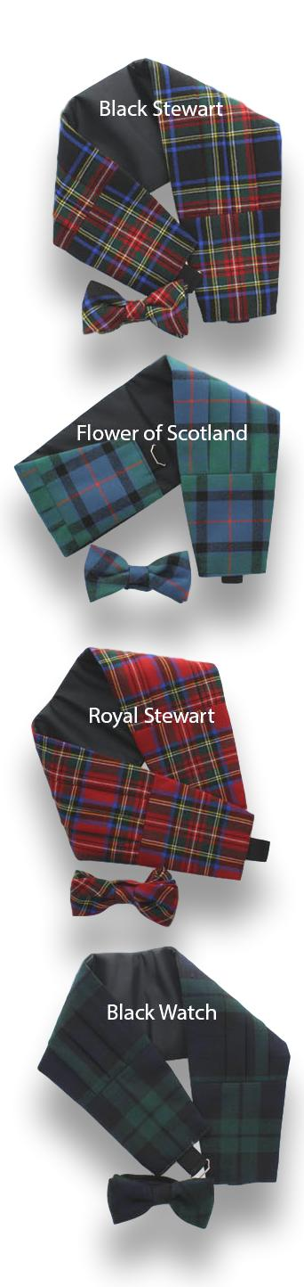 Burns Night, Cummerbund & Bow -Tie Set Lightweight  Wool
