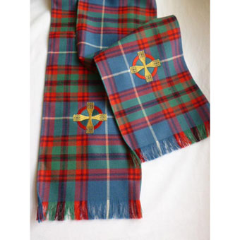 Clerical Tartan Stole, Embroidered, Custom made
